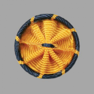 A rosette gold and blue pin