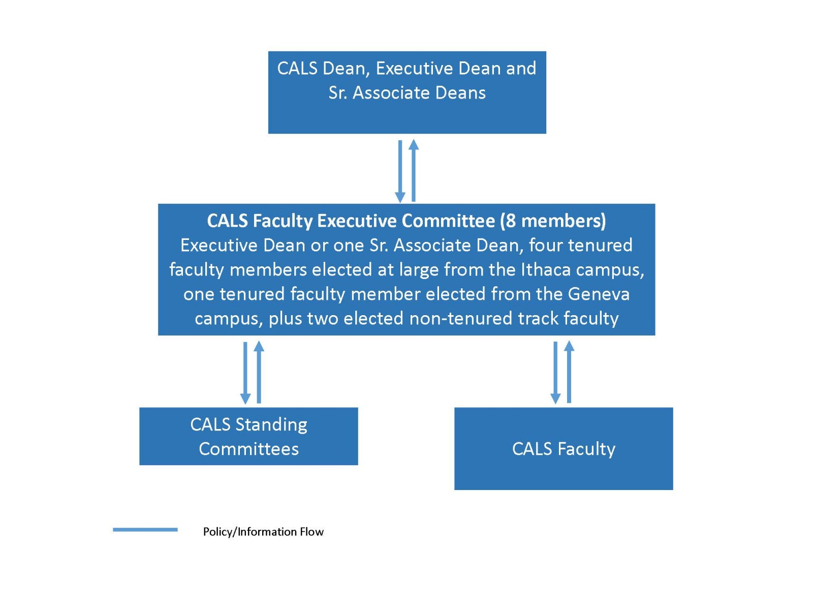 Flow chart showing the organization of CALS Faculty Governance