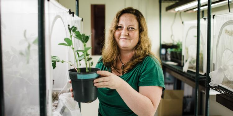 Tory Hendry holding a plant in her lab