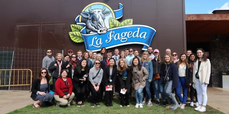 students visiting the dairy farm
