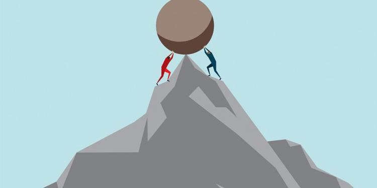 Graphic of figures holding up two sides of a boulder on a mountain top