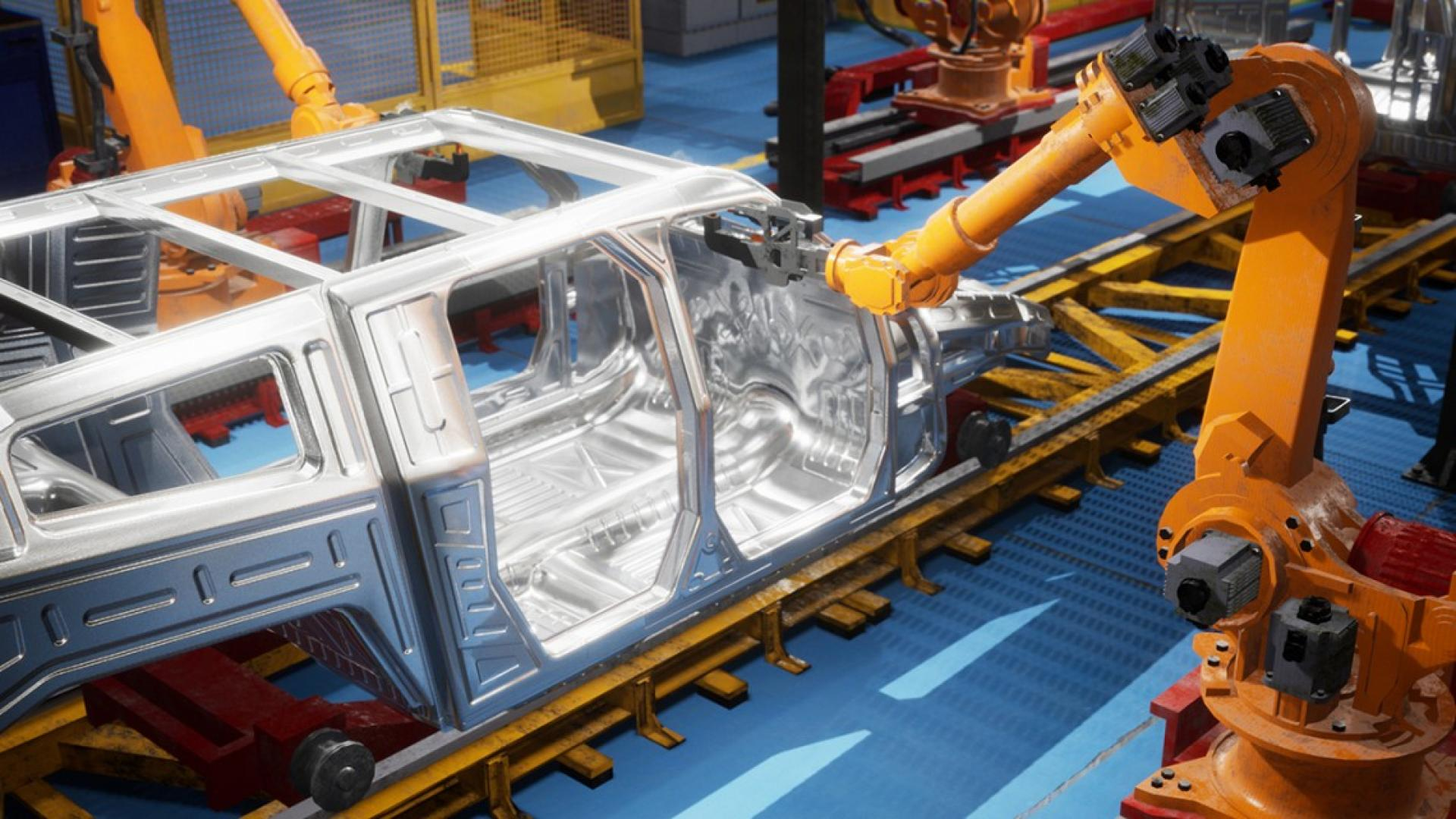 A robot welding together a car