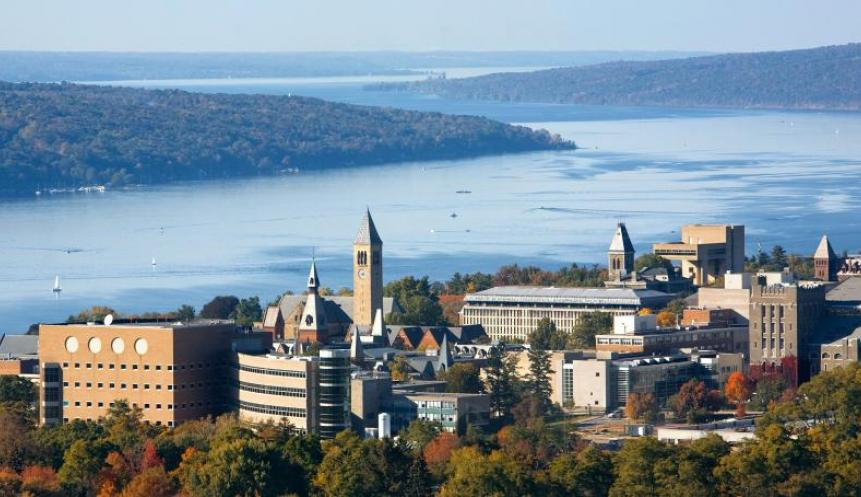 view of campus overlooking Cayuga Lake