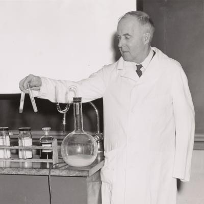 James B. Sumner in his lab