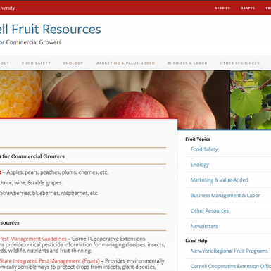 screenshot of cornell fruit resources website