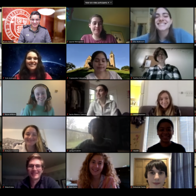 A video conference call of thirty-five students