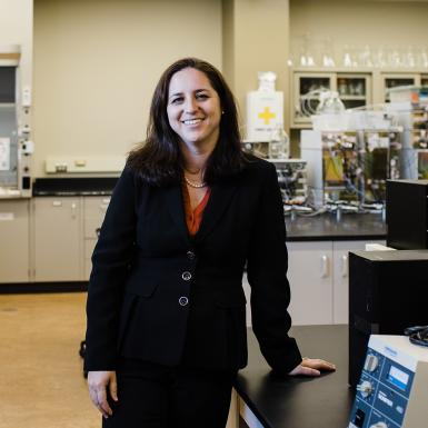 Jillian Goldfarb stands in her lab