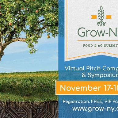 "An apple tree outside against a blue sky with a banner that says ""Grow-NY Food & Ag Summit: Virtual Pitch Competition & Symposium - November 17-18, 2020. Registration: FREE, VIP Package: $75. www.grown-ny.com"