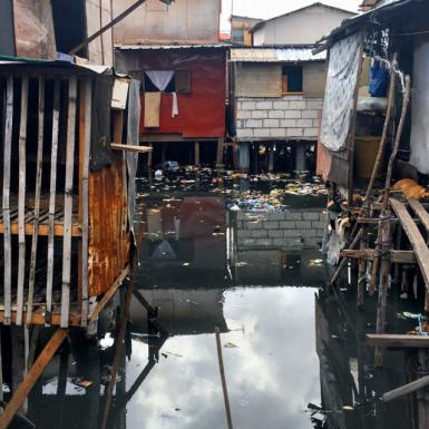 Flooding around homes in the Philippines