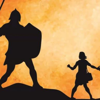 Illustration of David and Goliath