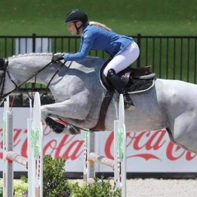 a female equestrian jumps a white horse over a race fence