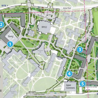 A map of Cornell's north campus indicating where the new residence halls will be