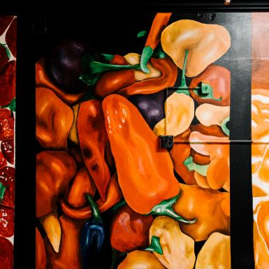 Mural painting of red and orange fruits