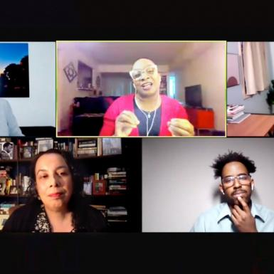 Five people talk on a Zoom webinar