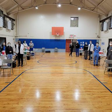 Gymnasium set up as vaccine site