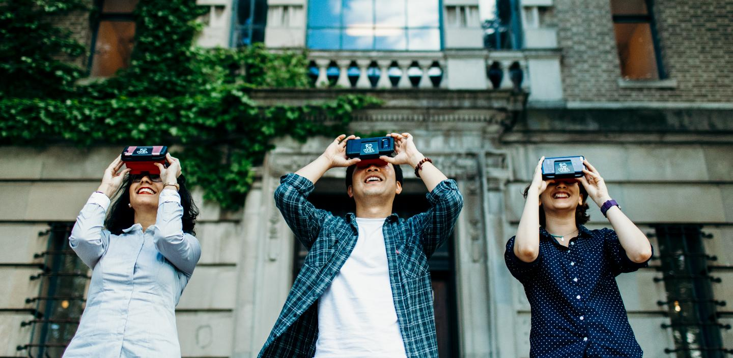 three students with vr headsets