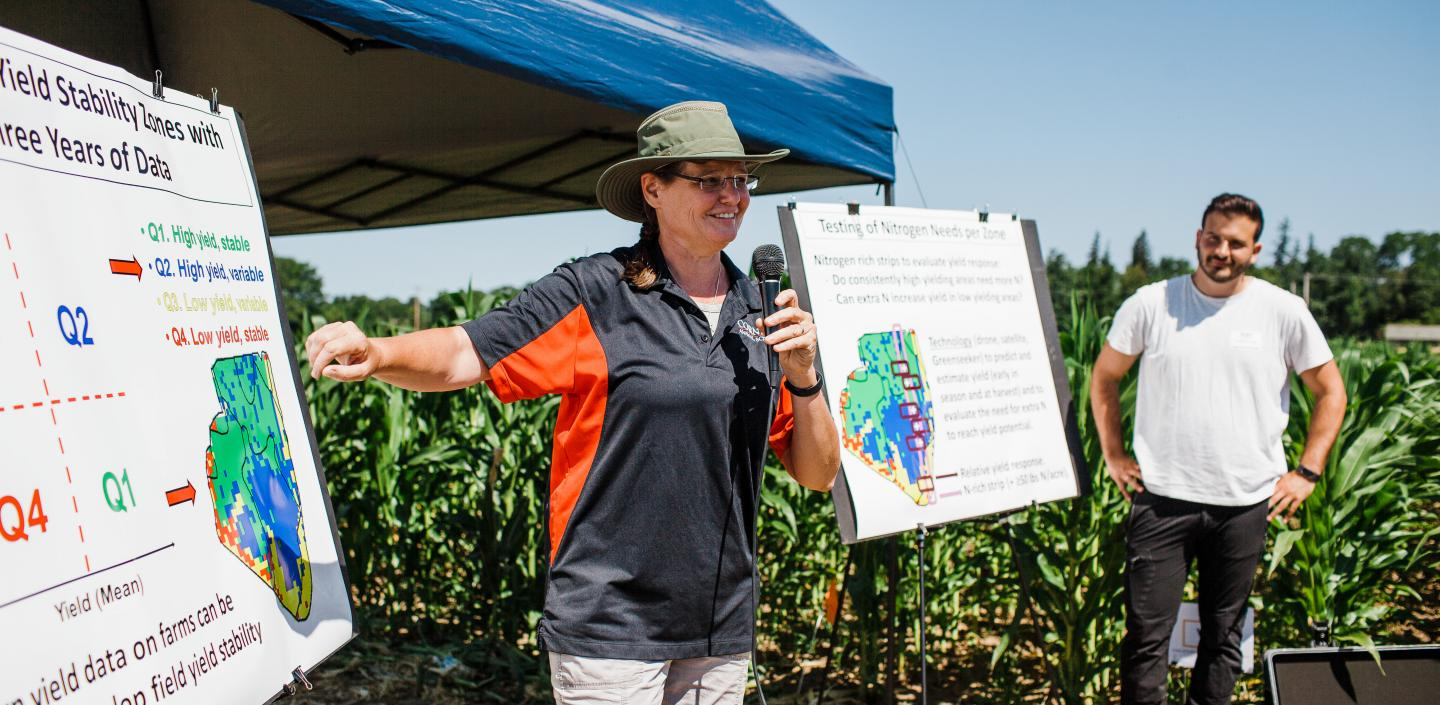 Professor Quirine Ketterings speaks at the 2018 Aurora Farm Field Days.