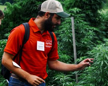A man wearing a red shirt and baseball hat standing in front of and talking about a green leafy plant
