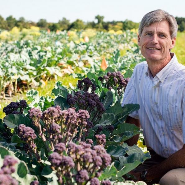 A white male crouching next to a broccoli plant and smiling in the middle of a large crop field of broccoli