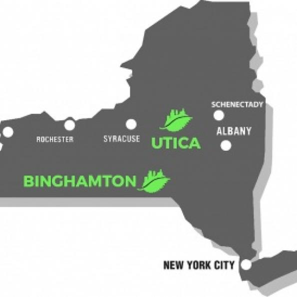 Map of New York State, showing Rust 2 Green projects in Binghamton and Utica, as well as other Rust Belt cities