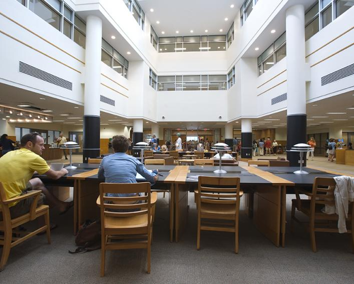 Photo of the inside of the Mann Library