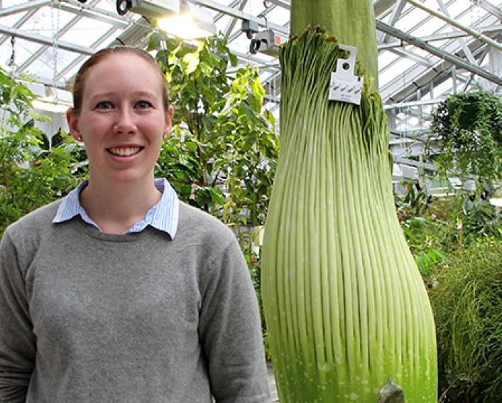 Plant Science alum Emily Follett in the Liberty Hyde Bailey Conservatory