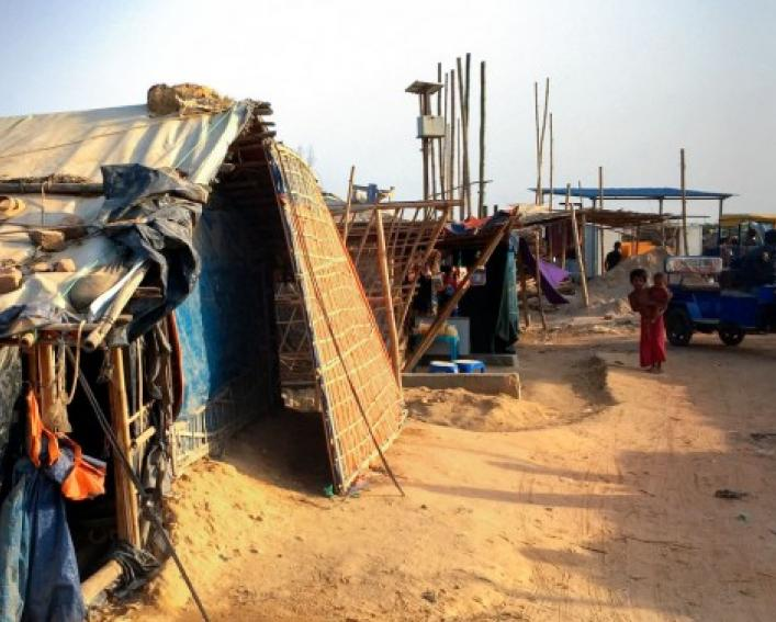 Tents housing children at a Rohingya refugee camp in Bangladesh.
