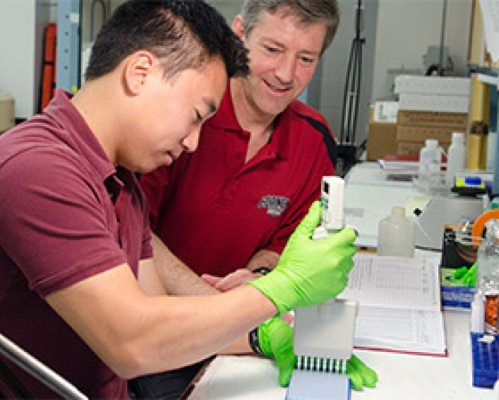 two men working together at a lab bench