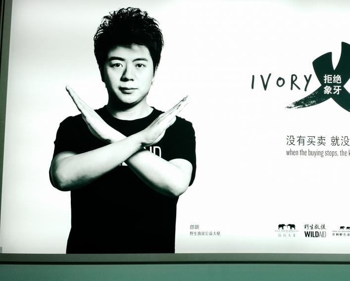 "Man crosses his arms in an ""X"" pattern in an advertisement in Beijing against the illegal trade of ivory."
