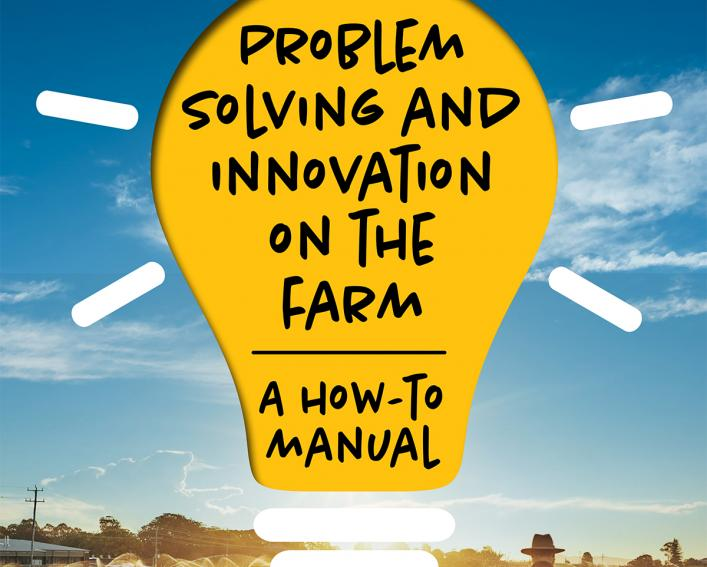 Problem Solving and Innovation guide cover with light bulb and farmers walking through field