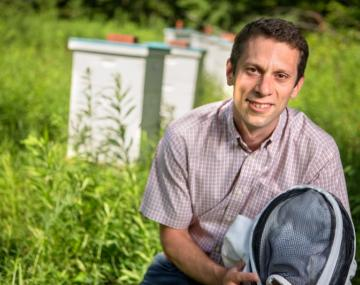 Scott McArt with beekeeper gear