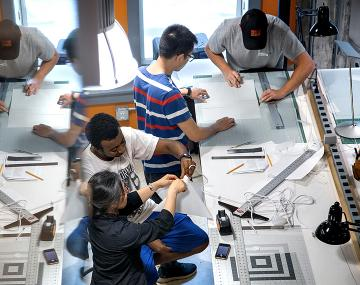 Students worked on technical drawings