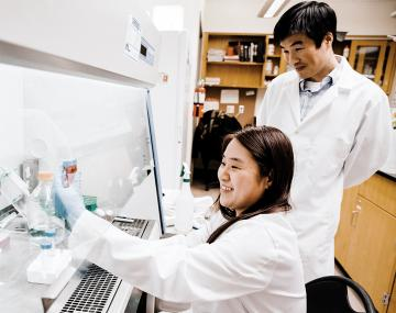 Man and woman working together in lab.