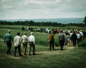 Farmers visiting Aurora, NY, research farm