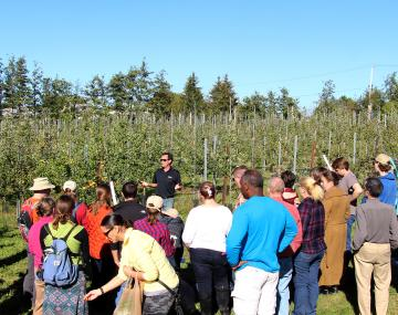 Field day attendees learning about high-density cider orchard planting.