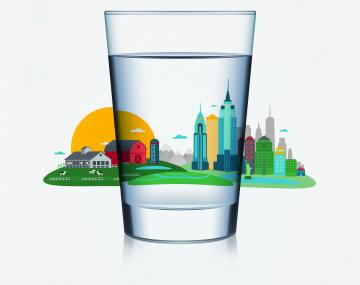 Illustration of a water glass in front of a merged city and agricultural setting