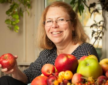 Professor Susan Brown with apples